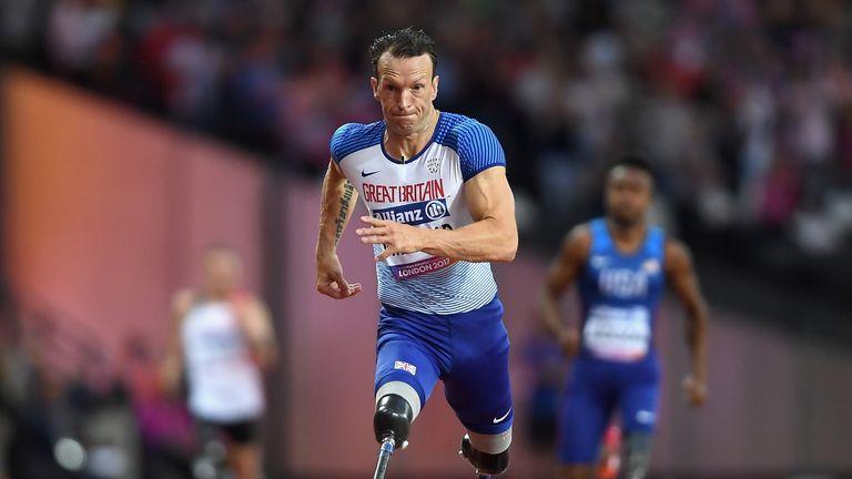Richard Whitehead in action in the IPC World ParaAthletics Championships