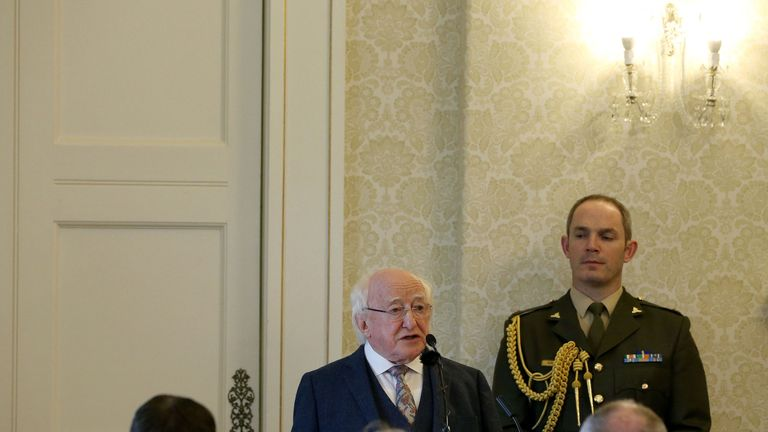 President Higgins at the ceremony granting Myles Joyce a posthumous pardon