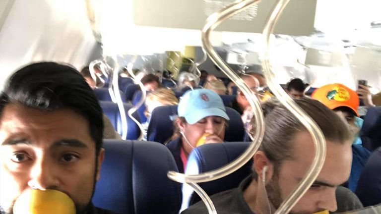 Oxygen masks came down during the incident. Pic: Facebook/Marty Martinez