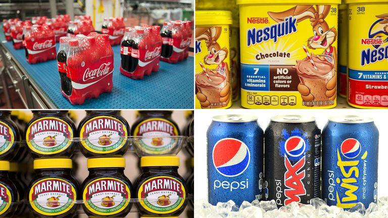 Coca Cola, Nesquick, Pepsi, Marmite