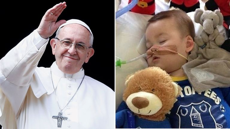 The Pope has voiced support for seriously ill toddler Alfie Evans