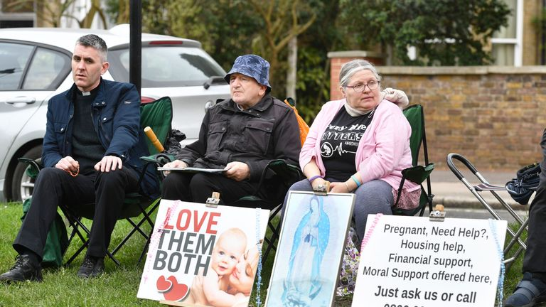 Pro-life campaigners outside the Marie Stopes clinic in Ealing, west London