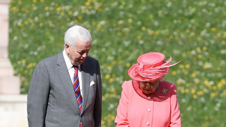 The Queen with Sir John Spurling, Chairman of London Marathon Events