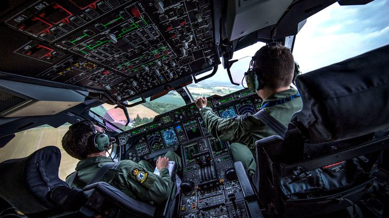 Ministry of Defence handout photo dated 25/05/17 of the cockpit of a Royal Air Force A400M Atlas from 70 Squadron, based at RAF Brize Norton, taking part in a Flypast over Brussels, Belgium, to mark the NATO summit