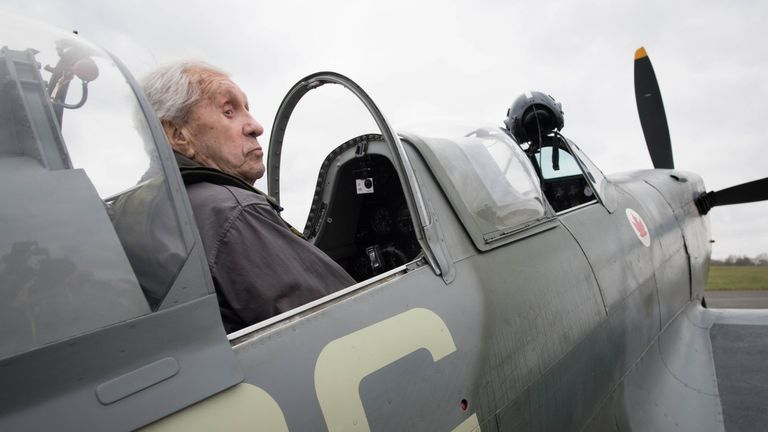 Former Spitfire pilot Squadron Leader Allan Scott, 96, prepares to fly as a passenger in a Spitfire at Biggin Hill Airport