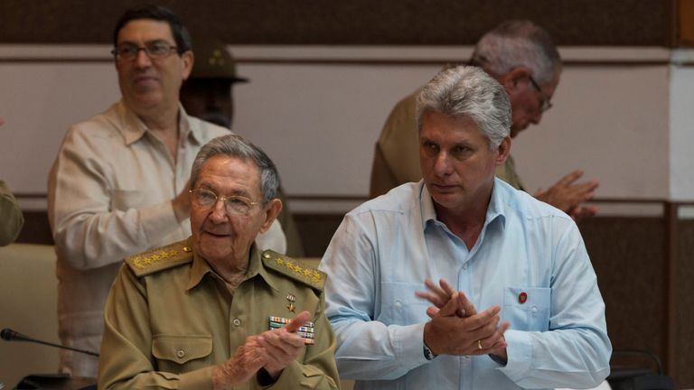 Miguel Diaz Canel (R) will take over from Raul Castro (L) as Cuban President