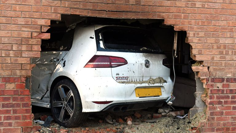 Undated handout photo issued by North Yorkshire Police of the scene in Rawcliffe, York, where James Andrew Sparham smashed his powerful car into a family's front room, as the 29-year-old has been jailed for five years at York Crown Court