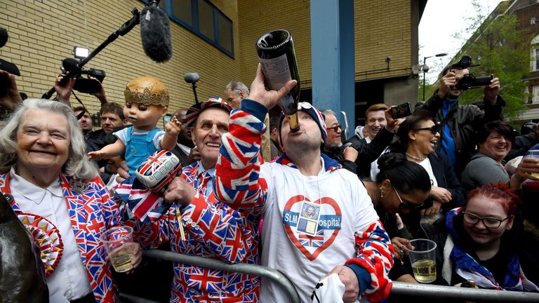 Crowds sipped Champagne when the news was announced