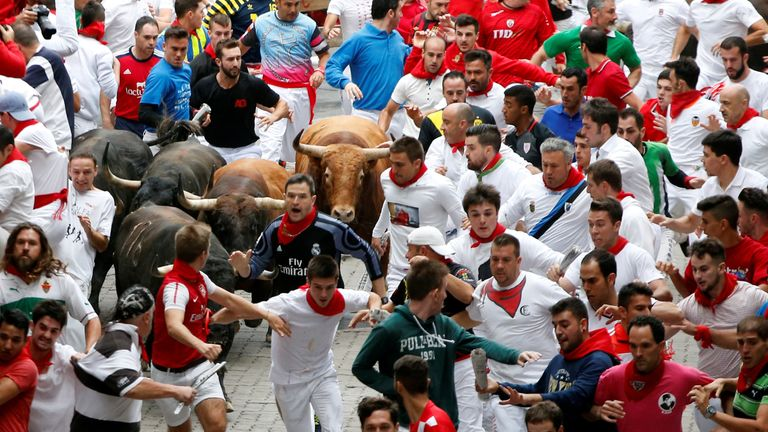 Hundreds of people take part in the San Fermin running of the bulls festival in Pamplona every year