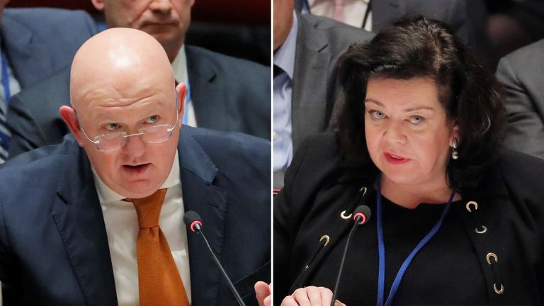 The British and Russian ambassadors to the United Nations, Karen Pierce and Vasily Nebenzya