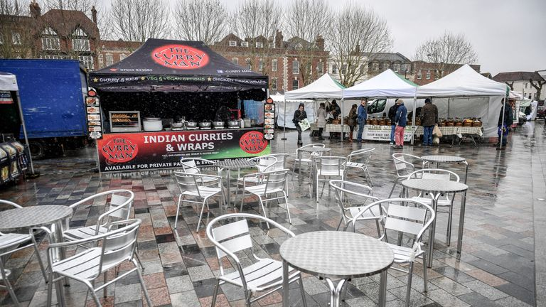 Empty tables at Salisbury outdoor market, as the investigation into the suspected nerve agent attack on Russian double agent Sergei Skripal and his daughter Yulia continues