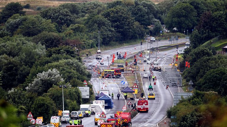 Emergency services attending the crash in August 2015