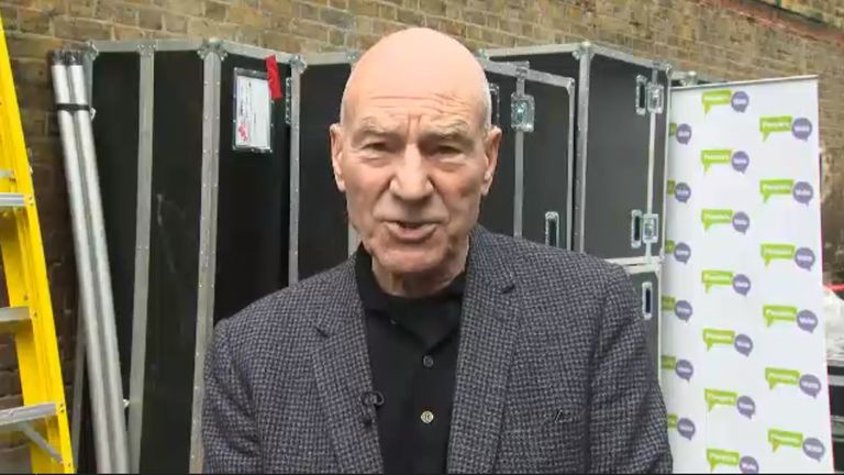 Actor Sir Patrick Stewart speaks to Sky News after the launch of the People's Vote campaign