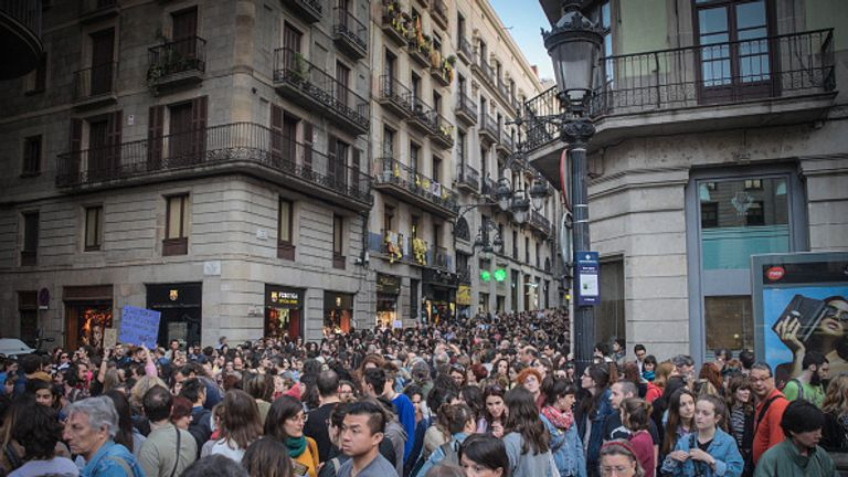 "BARCELONA, CATALONIA, SPAIN - 2018/04/26: Barcelona joins the protests in different Spanish cities for the resolution of a multiple violation trial in the last San Fermin celebration, on July 2017. A girl, 18 years old, was forced to have sex with a team of friends (5 men) called himselfs as ""La Manada"" and fell in shock. She was recorded in different videos they send to their friends, and they leave the girl naked and without her mobile to call someone for help. The case became mediatic and the resolution has been too benevolent with the 5 boys and very unpopular, mostly for women who claim their right to go alone without being sexually assaulted. This case is added to another one of rape and murder in San Fermin years before. The killer is in probation and working as a psychologist after only few years. (Photo by Laura Calonge/SOPA Images/LightRocket via Getty Images)"