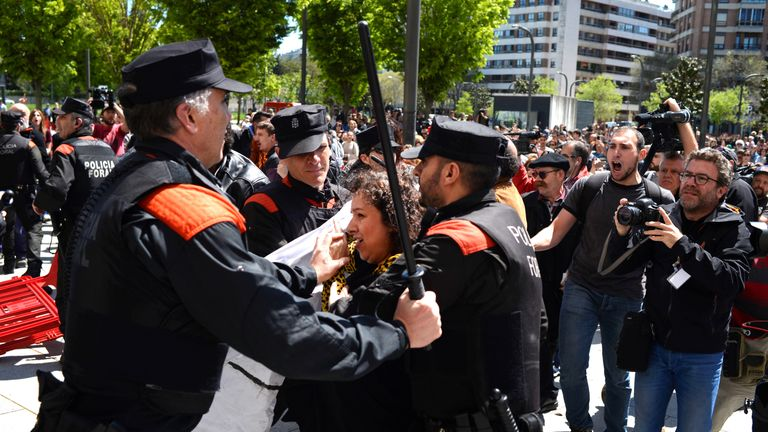 Protesters clashed with police in Pamplona