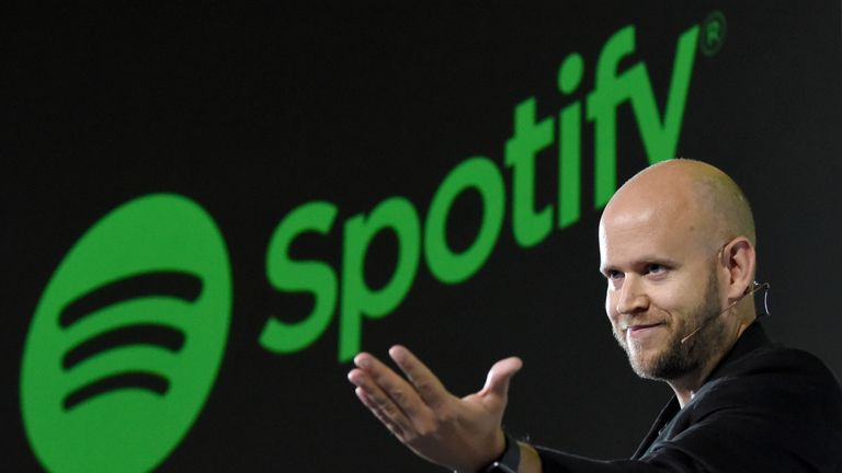 Daniel Ek, CEO of Swedish music streaming service Spotify, gestures as he makes a speech at a press conference in Tokyo on September 29, 2016. Spotify kicked off its services in Japan on September 29.