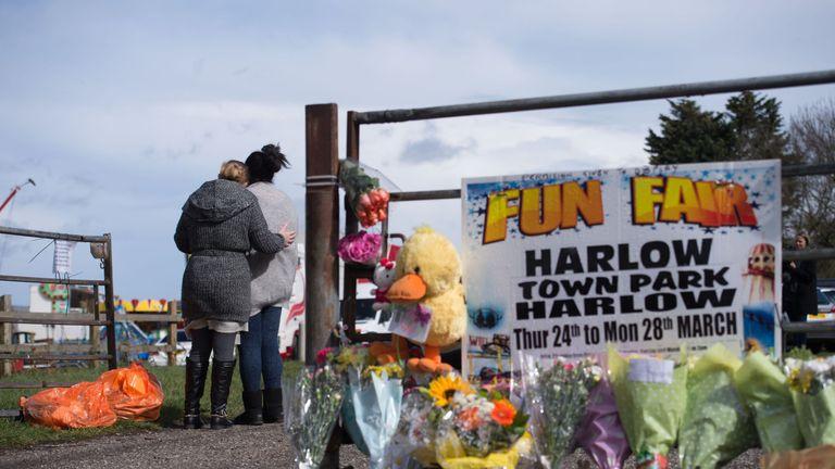 Tributes near the scene of Summer Grant's death