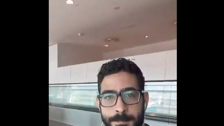 Hassan al-Kontar, 36, has been stuck in Kuala Lumpur airport for the past 37 days, living off airline food and sleeping in the terminal