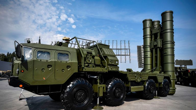 A Russian S-400 anti-aircraft missile launching system. File pic