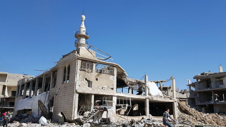 A destroyed mosque in part of eastern Ghouta recaptured by the Syrian regime