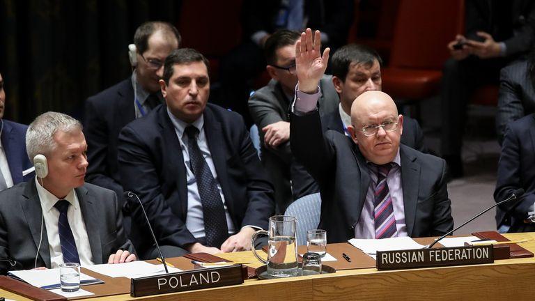 Russian Ambassador to the United Nations Vasily Nebenzya votes to veto a U.S. draft resolution to create a new inquiry to find blame for the chemical weapons attack last week in Douma,