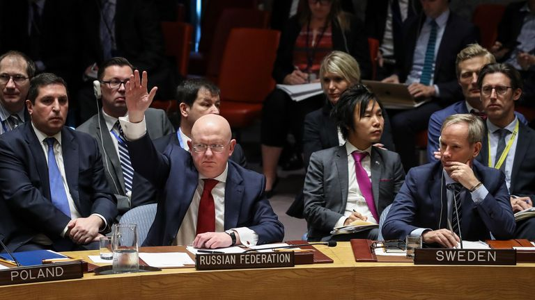 "The UN Security Council rejected a Russian resolution calling for condemnation of ""aggression"" by the US, UK and France over Syria."