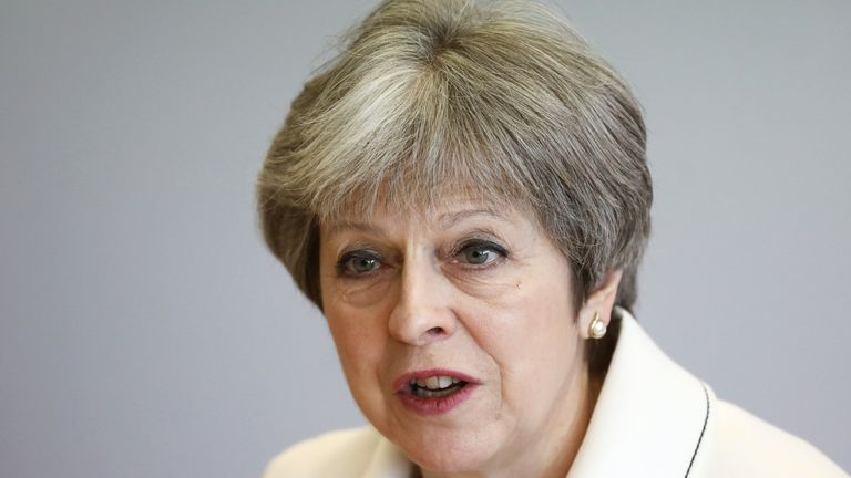 Britain's Prime Minister Theresa May attends a Commonwealth Heads of Government Meeting (CHOGM) Youth Forum on April 16, 2018 in London, England. The UK this week hosts heads of state and government from the Commonwealth nations. (Photo by Simon Dawson-WPA Pool/Getty Images) Editorial subscription SML