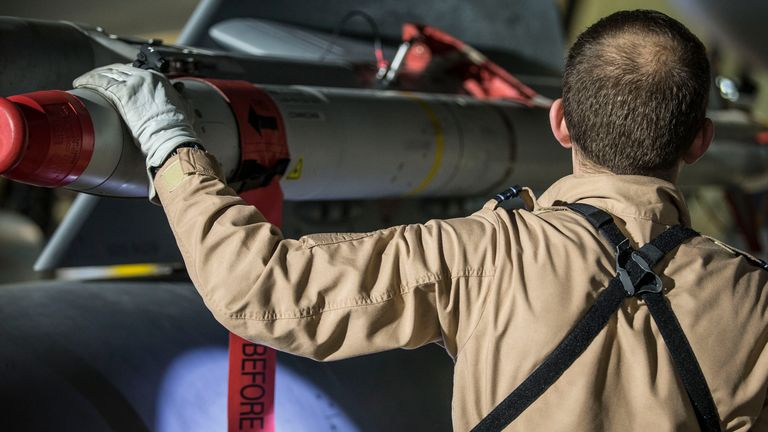A RAF pilot checking the weapons on his Tornado. Pic: Ministry of Defence