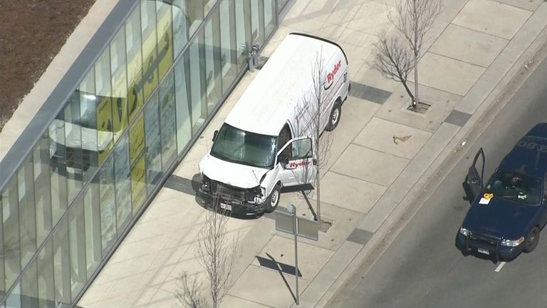Footage from the scene appears to show the truck involved in the incident