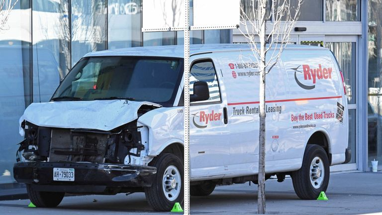 The van involved in the fatal attack in Toronto