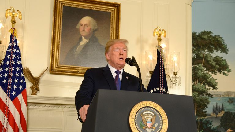 President Trump addresses the nation as he announces military action against Syria