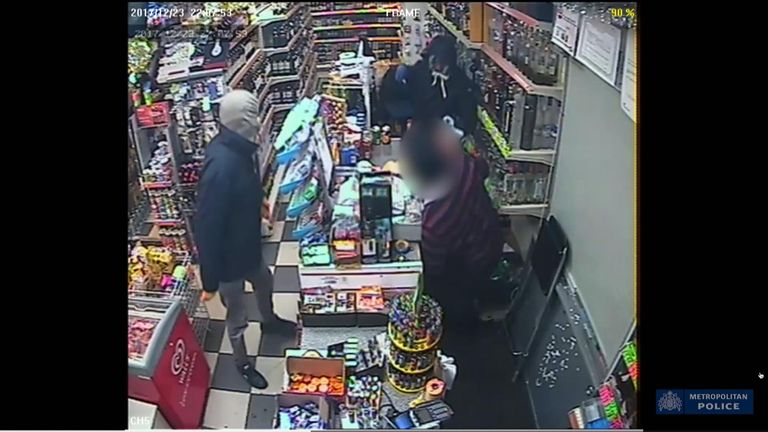 Two men involved in a robbery in which a shopkeeper was violently stabbed