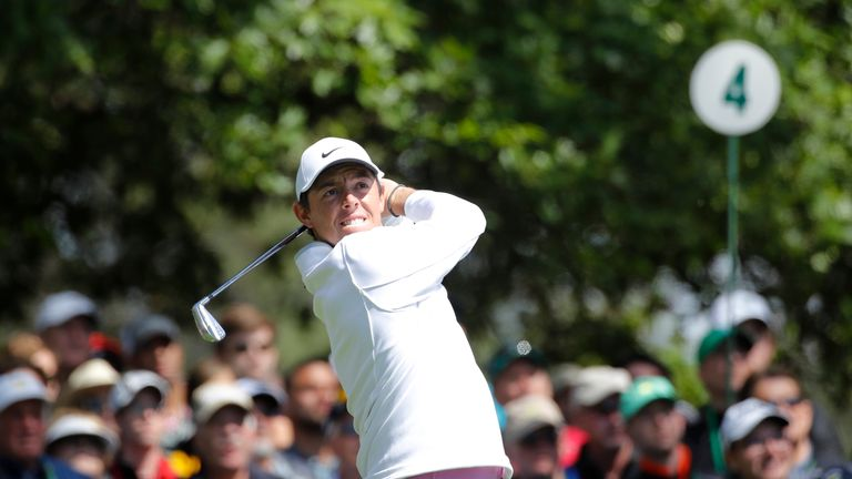 Rory McIlroy hits off the 4th tee during the final round of play