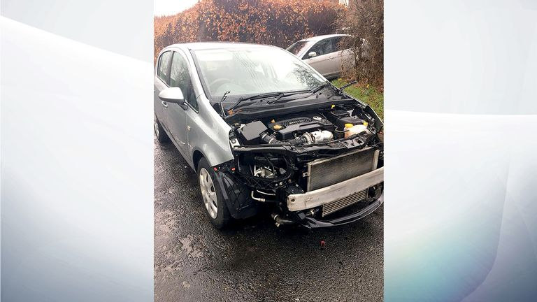 The bonnet, lights and grille were stolen from this Vauxhall Corsa