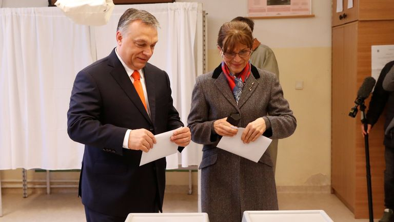 Current Hungarian Prime Minister Viktor Orban and his wife Aniko Levai vote during Hungarian parliamentary election in Budapest, Hungary, April 8, 2018