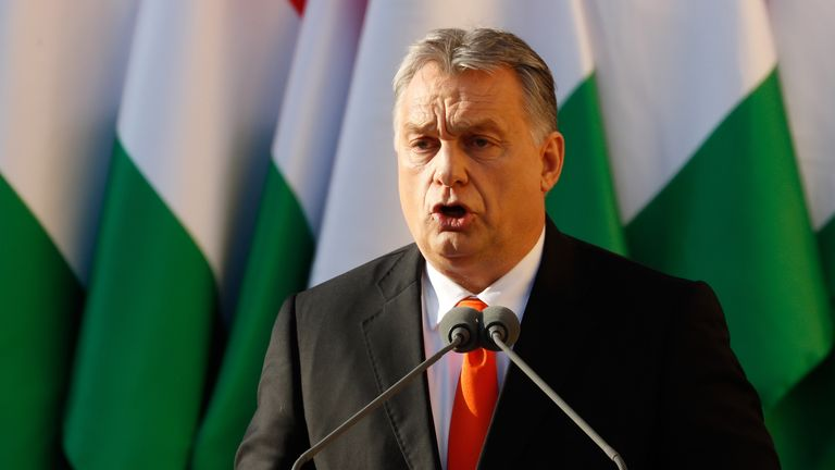 Hungarian Prime Minister Viktor Orban attends his Fidesz party campaign closing rally on April 6, 2018 in Szekesfehervar, Hungary