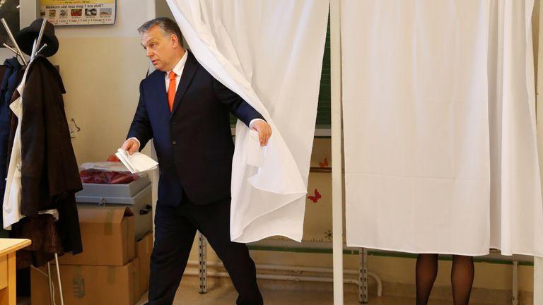 Viktor Orban casts his vote