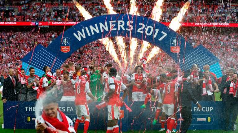 2017: Arsenal win 2-1 win over  Chelsea and deliver manager Arsene Wenger a record seventh FA Cup
