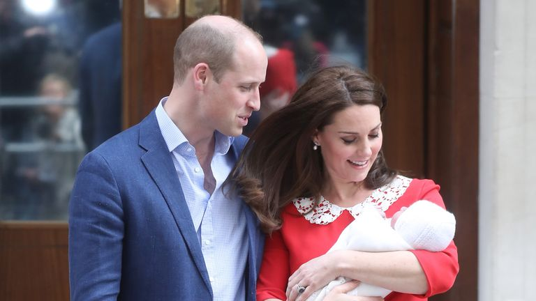 Prince William, Duke of Cambridge and Catherine, Duchess of Cambridge depart the Lindo Wing with their newborn son at St Mary's Hospital on April 23, 2018 in London, England. The Duchess safely delivered a boy at 11:01 am, weighing 8lbs 7oz, who will be fifth in line to the throne.