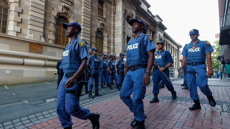 There was a heavy police presence outside the Durban court