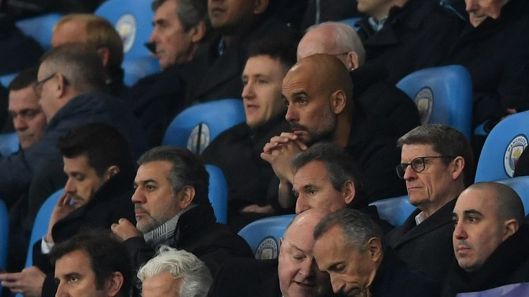 A glum Pep Guardiola looks on after being sent to the stands during City's Champions League second-leg defeat