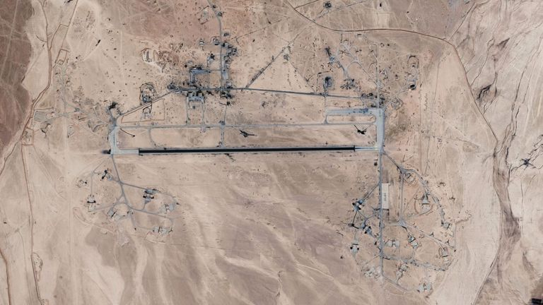 A Google satellite image showing the T4 airfield in Homs, Syria.