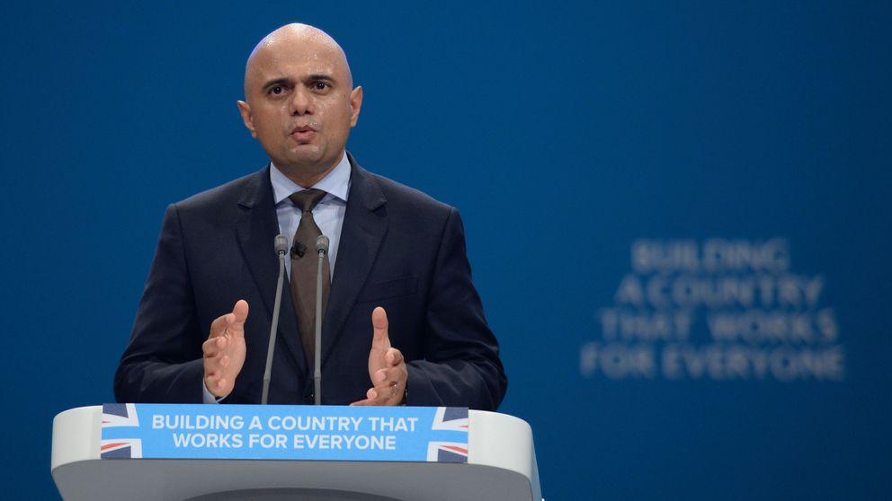 Communities Secretary Sajid Javid speaks at the Conservative Party Conference at the Manchester…