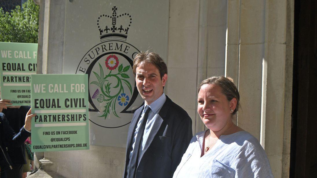 Rebecca Steinfeld and Charles Keidan outside the Supreme Court