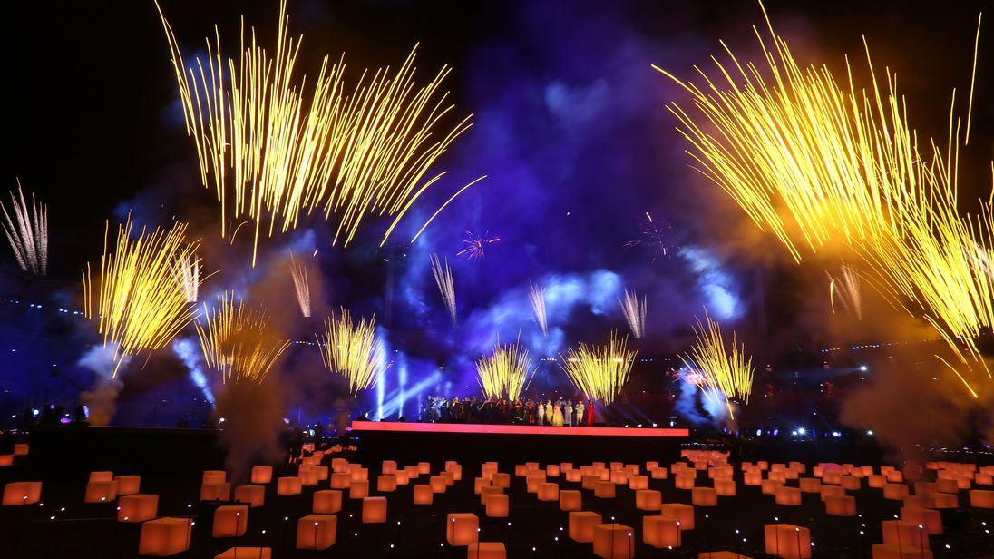 Fireworks going off during the closing ceremony last month