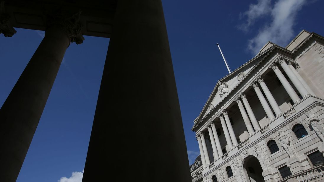 The Bank of England is pictured from the steps of the Royal Exchange in the City of London on July 31, 2017
