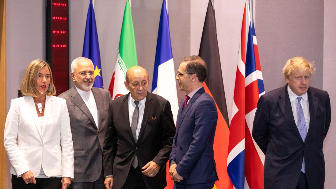 Britain's Foreign Secretary Boris Johnson, German Foreign Minister Heiko Maas, French Foreign Minister Jean-Yves Le Drian and EU High Representative for Foreign Affairs Federica Mogherini
