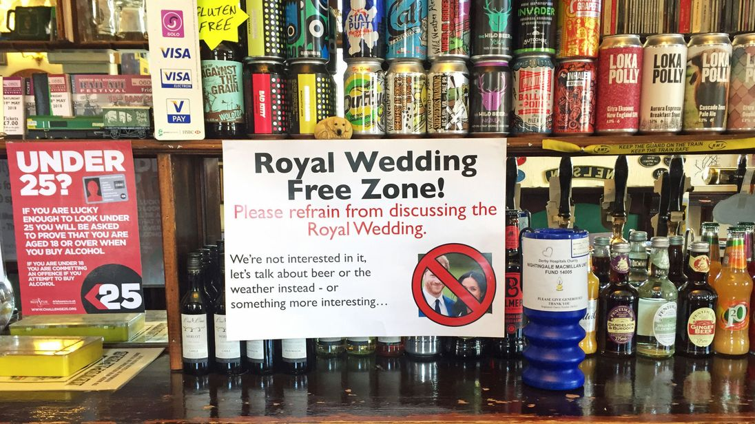 "A ""Royal Wedding Free Zone"" poster on display at The Alexandra Hotel in Derby"