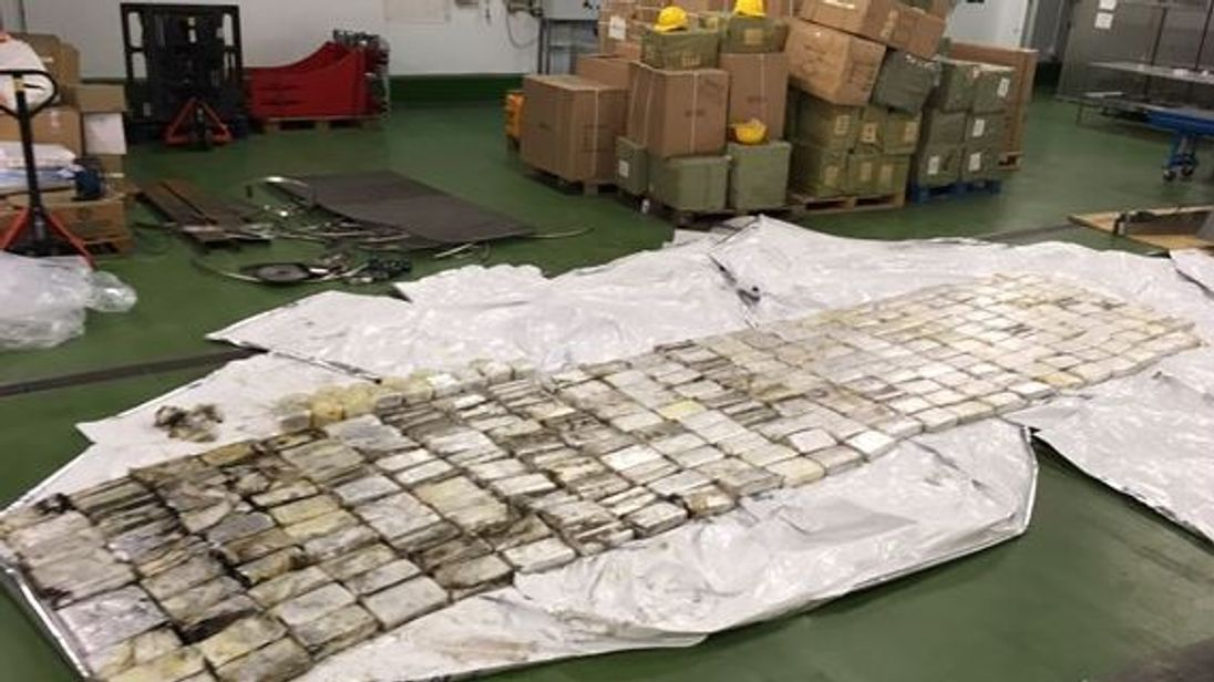 The packets of drugs allegedly brought to Britain from Mexico