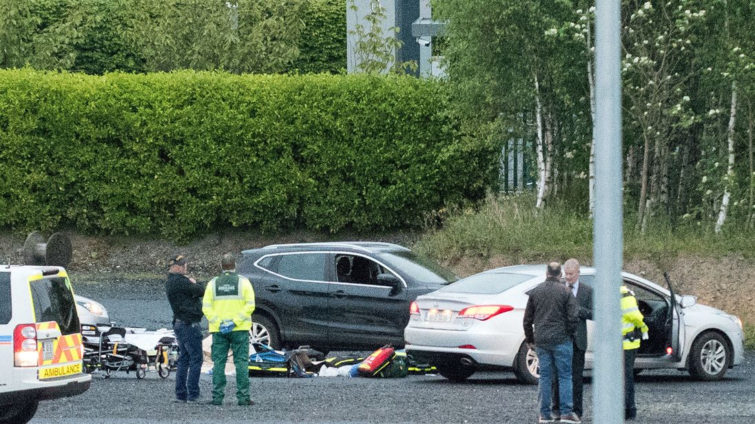 Emergency services at a business park in the Cherrywood area of Dublin where a man has been shot